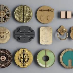 新中式五金门把手柜门把手组合3D模型【ID:332104360】