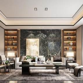 新中式客厅3D模型【ID:541983007】