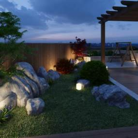 新中式屋顶小花园3D模型【ID:130452427】