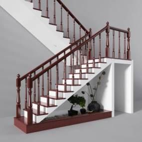 新中式实木楼梯景观楼梯间3D模型【ID:330636506】