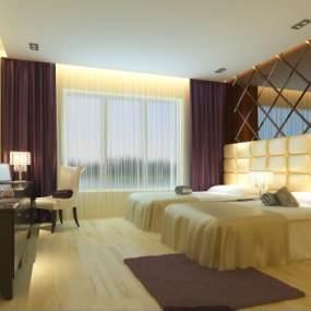 现代宾馆房间3D模型【ID:735806367】