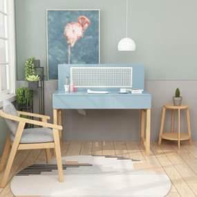 現代電腦書桌椅組合3D模型【ID:946767083】