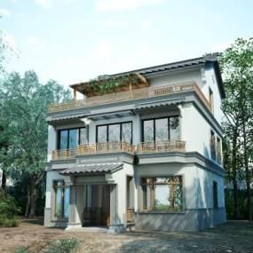 新中式别墅外观3D模型【ID:135600328】