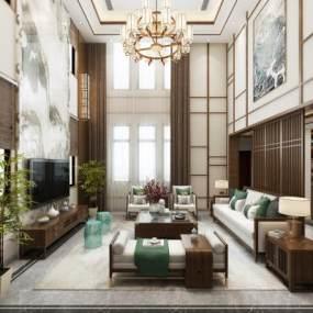 新中式别墅客厅餐厅3D模型【ID:554015097】