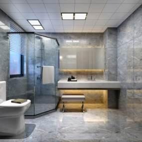 现代卫生间卫浴组合3D模型【ID:535829581】