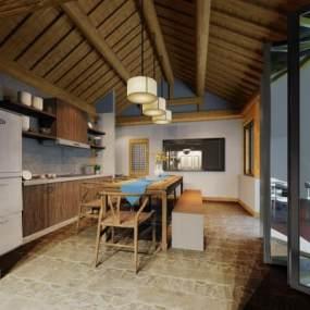 现代风格餐厅3D模型【ID:850835793】