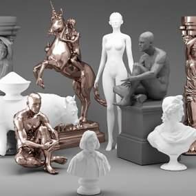 简欧雕塑3D模型【ID:345933198】