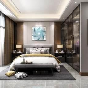现代卧室3D模型【ID:533782200】