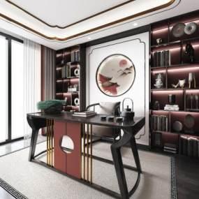 新中式别墅书房3D模型【ID:540946418】