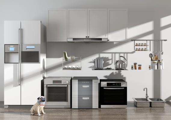 现代厨房 油烟机 冰箱 烤箱 消毒柜 燃气灶