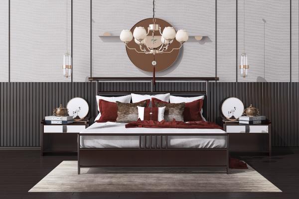 新中式实木双人床组合 床头柜 吊灯