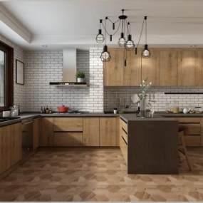 现代厨房橱柜3D模型【ID:533228392】