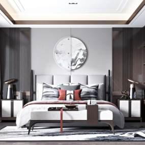 新中式臥室3D模型【ID:548180267】
