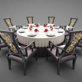 新中式风格餐桌3D模型【ID:847381812】