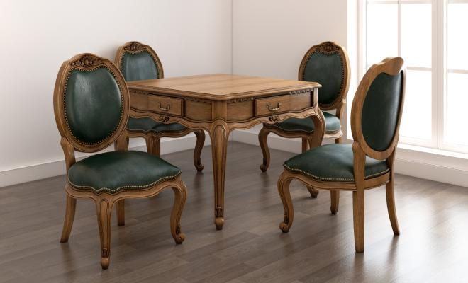 欧式风格餐桌椅3D模型【ID:730617184】