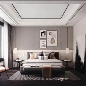 现代卧室3D模型【ID:543468291】
