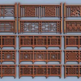 新中式栏杆护栏3D模型【ID:335811475】