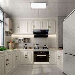 歐式簡約廚房3D模型【ID:548782326】