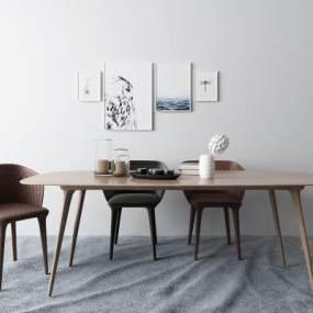 現代餐桌3D模型【ID:851149881】