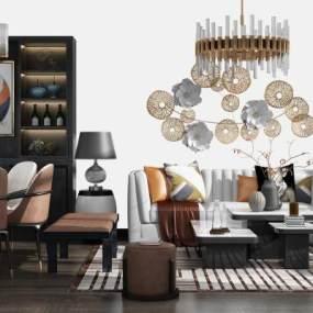新中式沙发茶几餐桌椅酒柜组合3D模型【ID:635864754】