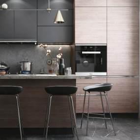 現代風格開放式廚房3D模型【ID:547165326】