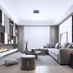 現代簡約客廳地毯臺燈裝飾畫壁爐3D模型【ID:542815015】