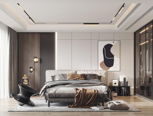 現代輕奢臥室3D模型【ID:552525280】