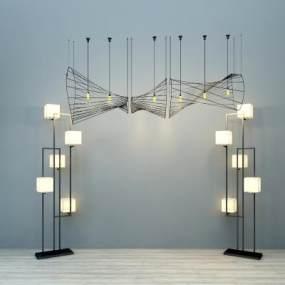 现代落地灯吊灯组合3D模型【ID:730625832】