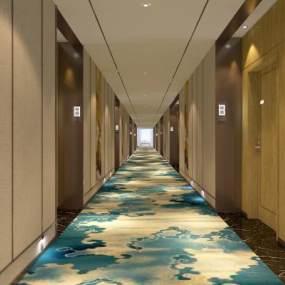 新中式賓館走廊3D模型【ID:749120447】