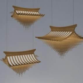 新中式屋檐吊灯3D模型【ID:731975821】
