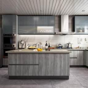 现代风格开放式厨房 3D模型【ID:540909361】