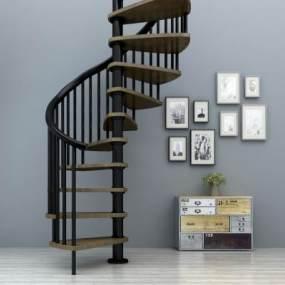 现代旋转楼梯扶手栏杆玄关柜装饰画组合3D模型【ID:330573514】