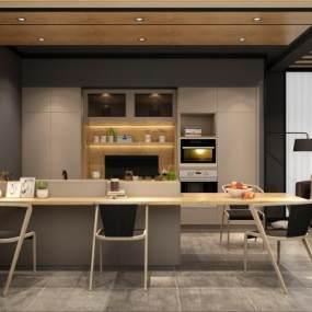 现代厨房橱柜3D模型【ID:534116345】