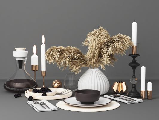 現代餐具擺件3D模型【ID:346534624】