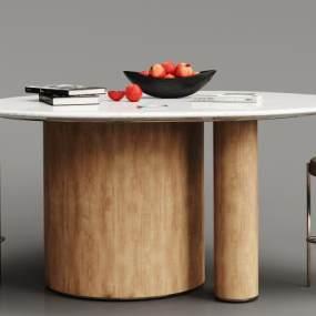 現代實木大理石餐桌椅組合3D模型【ID:834825851】