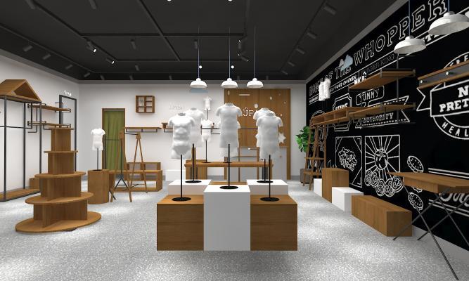 现代童装服装店3D模型【ID:146712052】