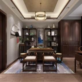 中式茶室3D模型【ID:653705161】