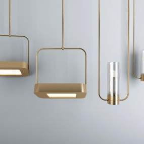 現代金屬壁燈組合3D模型【ID:734697951】