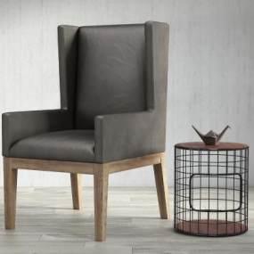 现代高背休闲单人沙发边几组合3D模型【ID:633001439】