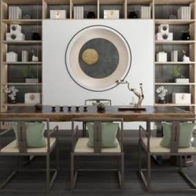 新中式休闲泡茶桌椅装饰柜组合 3D模型【ID:841379997】