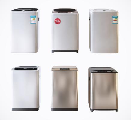 現代直筒洗衣機組合3D模型【ID:452579327】