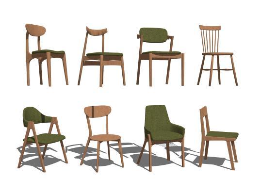 现代北欧单椅组合SU模型【ID:948630430】