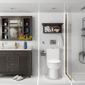 美式卫浴浴室架3D模型【ID:634283475】