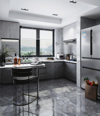 現代風格廚房3D模型【ID:550484347】