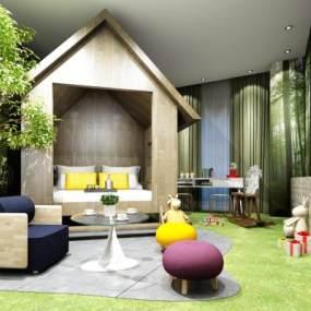 现代儿童房卧室3D模型【ID:532141248】