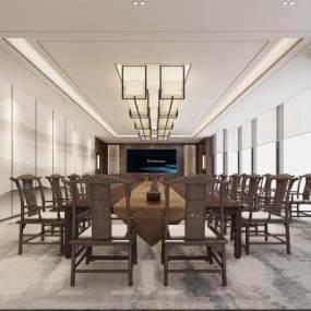 新中式风格大会议室3D模型【ID:943568150】