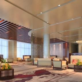 新中式酒店大堂休闲区 3D模型【ID:741848023】
