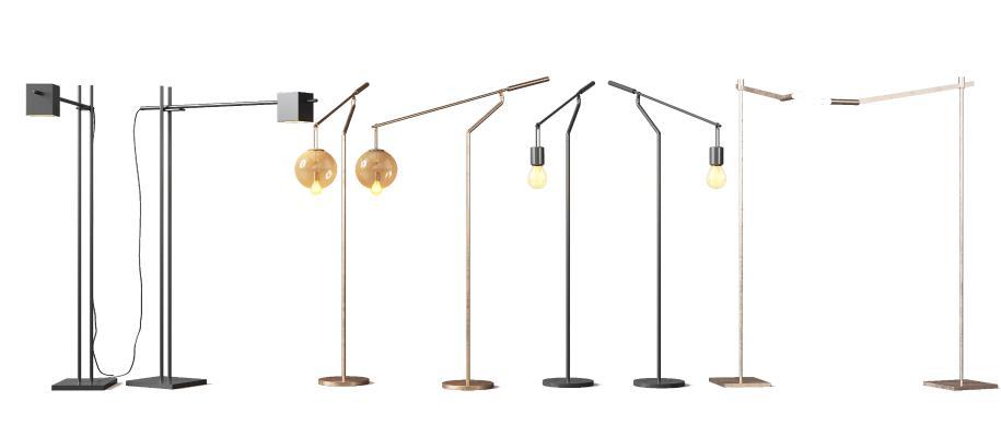 現代金屬落地燈組合3D模型【ID:853012260】