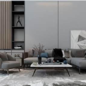 新中式沙发茶几组合 3D模型【ID:640923715】