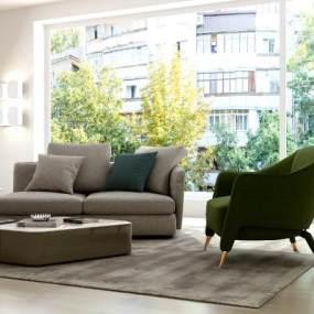后现代沙发桌椅组合3D模型【ID:632999784】
